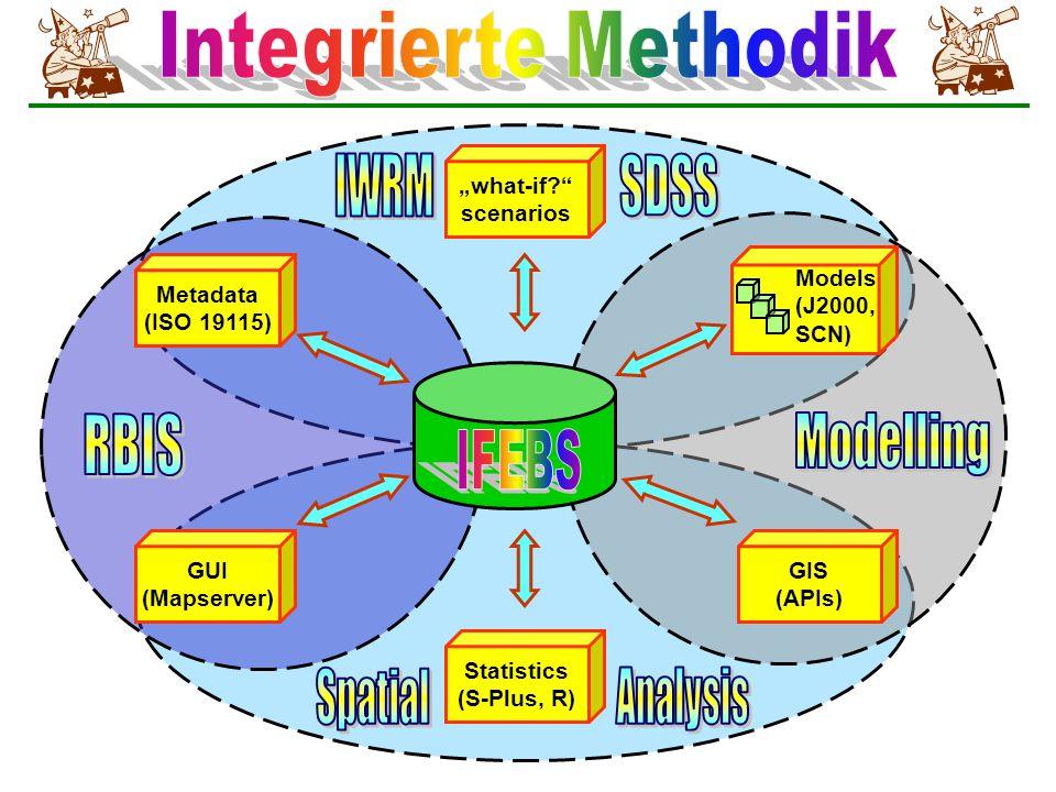 """Statistics (S-Plus, R) """"what-if? scenarios Metadata (ISO 19115) GIS (APIs) Models (J2000, SCN) GUI (Mapserver)"""