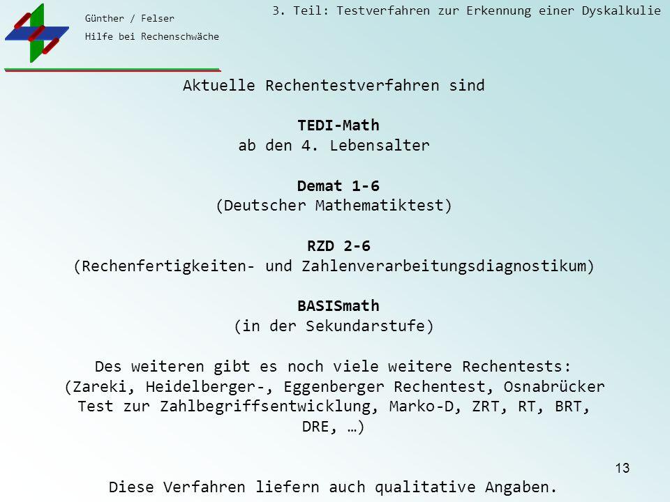 Günther / Felser Hilfe bei Rechenschwäche 3. Teil: Testverfahren zur Erkennung einer Dyskalkulie 13 Aktuelle Rechentestverfahren sind TEDI-Math ab den