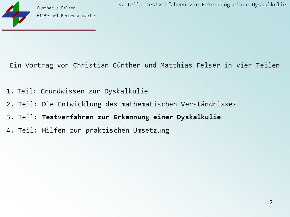 Günther / Felser Hilfe bei Rechenschwäche 3. Teil: Testverfahren zur Erkennung einer Dyskalkulie 2 Ein Vortrag von Christian Günther und Matthias Fels