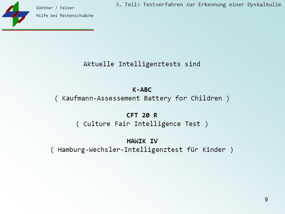 Günther / Felser Hilfe bei Rechenschwäche 3. Teil: Testverfahren zur Erkennung einer Dyskalkulie 9 Aktuelle Intelligenztests sind K-ABC ( Kaufmann-Ass