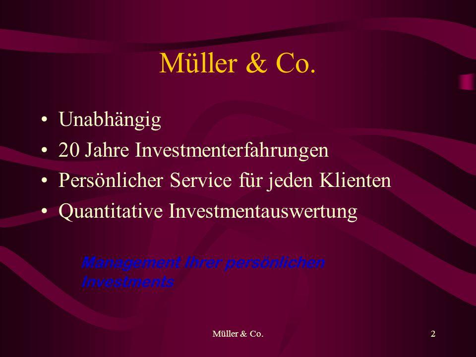 Müller & Co.2 Unabhängig 20 Jahre Investmenterfahrungen Persönlicher Service für jeden Klienten Quantitative Investmentauswertung Management Ihrer per