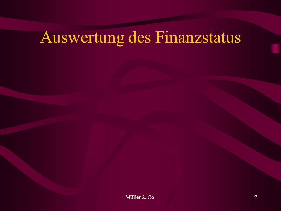 Müller & Co.7 Auswertung des Finanzstatus