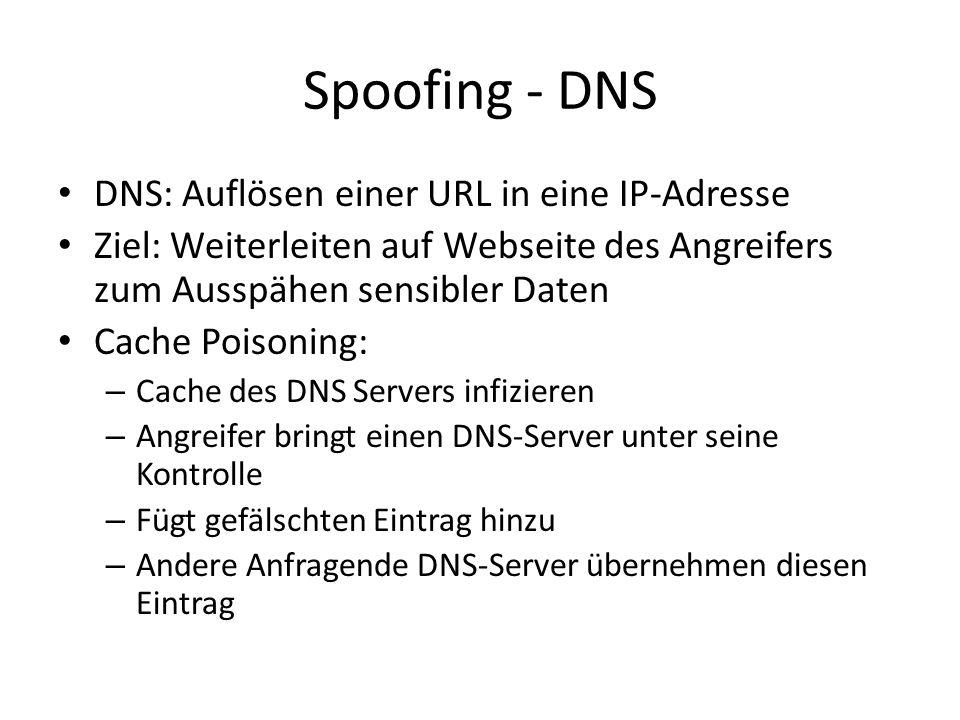 Spoofing - DNS DNS: Auflösen einer URL in eine IP-Adresse Ziel: Weiterleiten auf Webseite des Angreifers zum Ausspähen sensibler Daten Cache Poisoning: – Cache des DNS Servers infizieren – Angreifer bringt einen DNS-Server unter seine Kontrolle – Fügt gefälschten Eintrag hinzu – Andere Anfragende DNS-Server übernehmen diesen Eintrag