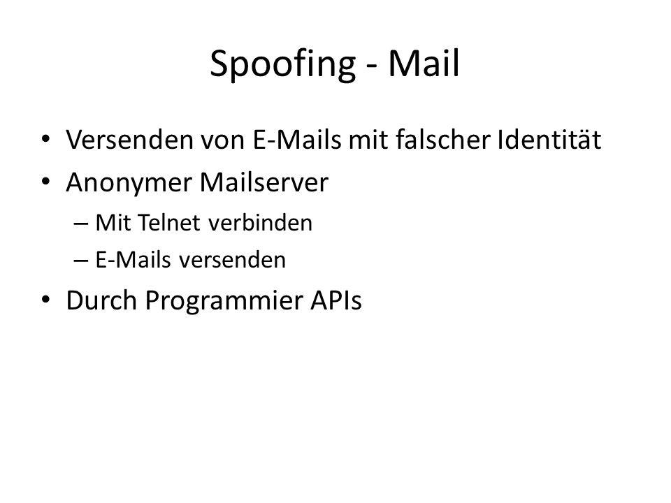 Spoofing - Mail Versenden von E-Mails mit falscher Identität Anonymer Mailserver – Mit Telnet verbinden – E-Mails versenden Durch Programmier APIs