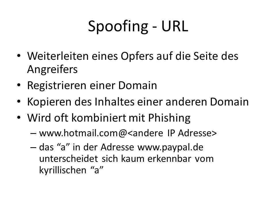 Spoofing - URL Weiterleiten eines Opfers auf die Seite des Angreifers Registrieren einer Domain Kopieren des Inhaltes einer anderen Domain Wird oft ko