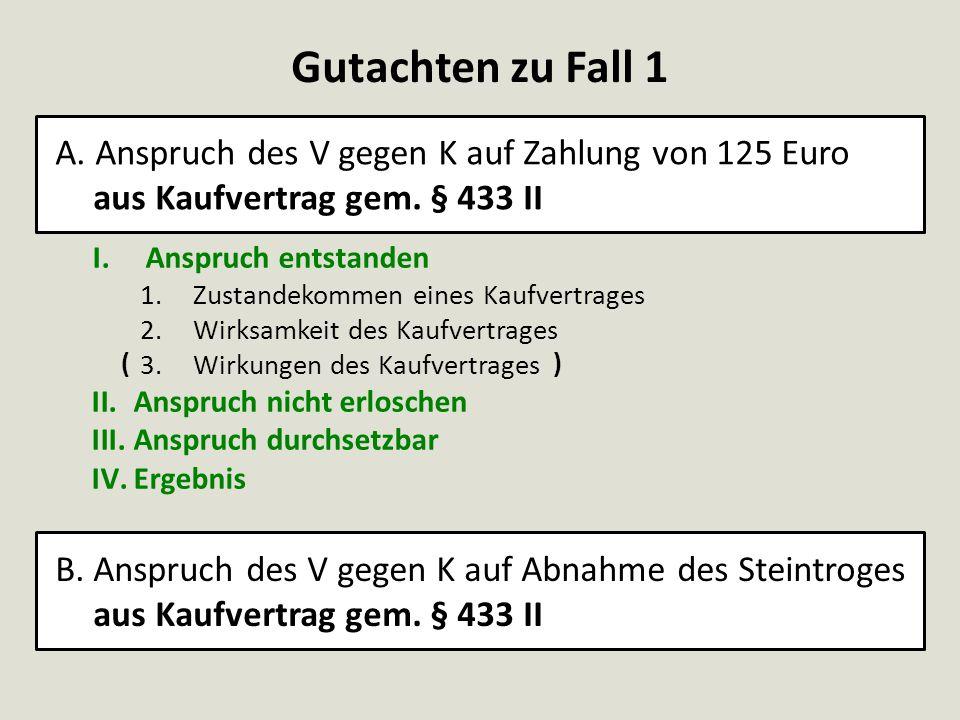 Gutachten zu Fall 1 A. Anspruch des V gegen K auf Zahlung von 125 Euro aus Kaufvertrag gem. § 433 II I.Anspruch entstanden 1.Zustandekommen eines Kauf