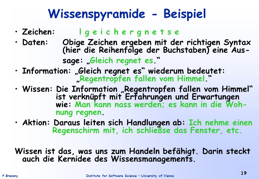 Institute for Software Science – University of ViennaP.Brezany 19 Wissenspyramide - Beispiel Zeichen: l g e i c h e r g n e t s e Daten:Obige Zeichen