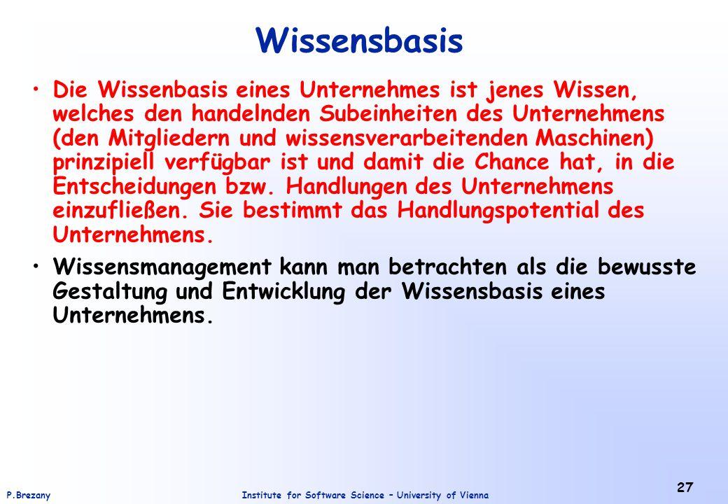 Institute for Software Science – University of ViennaP.Brezany 27 Wissensbasis Die Wissenbasis eines Unternehmes ist jenes Wissen, welches den handeln