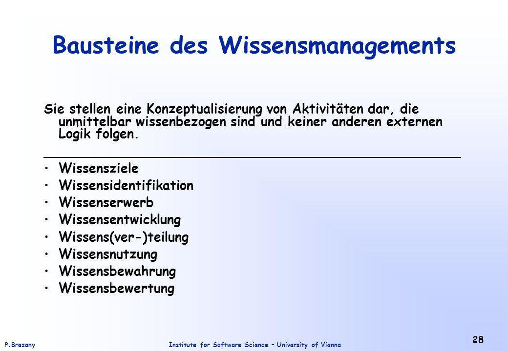 Institute for Software Science – University of ViennaP.Brezany 28 Bausteine des Wissensmanagements Sie stellen eine Konzeptualisierung von Aktivitäten