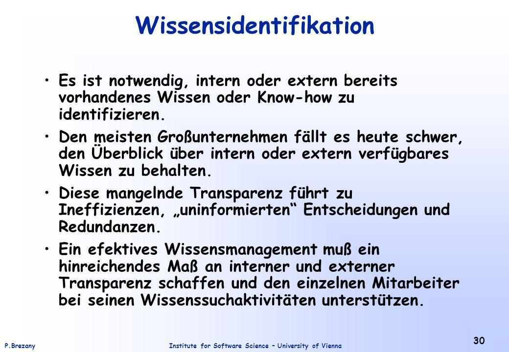 Institute for Software Science – University of ViennaP.Brezany 30 Wissensidentifikation Es ist notwendig, intern oder extern bereits vorhandenes Wisse