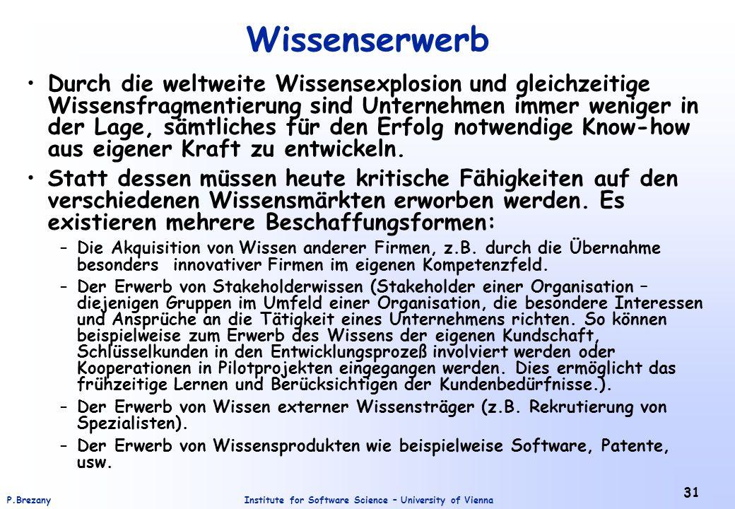 Institute for Software Science – University of ViennaP.Brezany 31 Wissenserwerb Durch die weltweite Wissensexplosion und gleichzeitige Wissensfragment