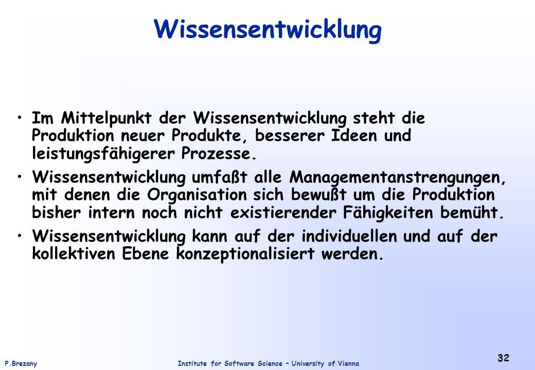 Institute for Software Science – University of ViennaP.Brezany 32 Wissensentwicklung Im Mittelpunkt der Wissensentwicklung steht die Produktion neuer