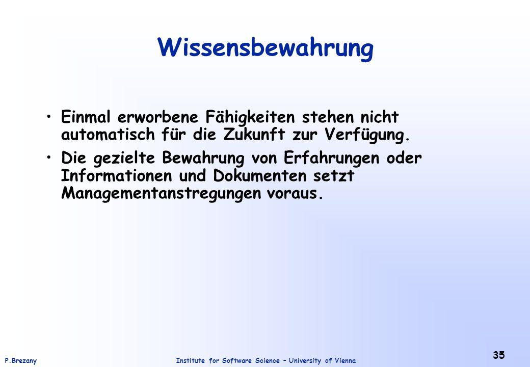 Institute for Software Science – University of ViennaP.Brezany 35 Wissensbewahrung Einmal erworbene Fähigkeiten stehen nicht automatisch für die Zukun