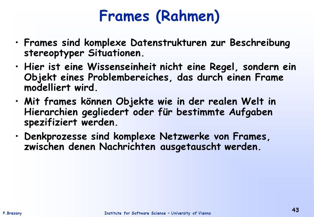 Institute for Software Science – University of ViennaP.Brezany 43 Frames (Rahmen) Frames sind komplexe Datenstrukturen zur Beschreibung stereoptyper S