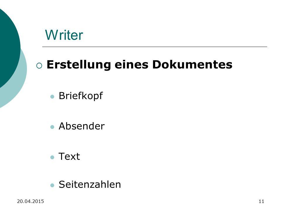Writer  Erstellung eines Dokumentes Briefkopf Absender Text Seitenzahlen 20.04.201511