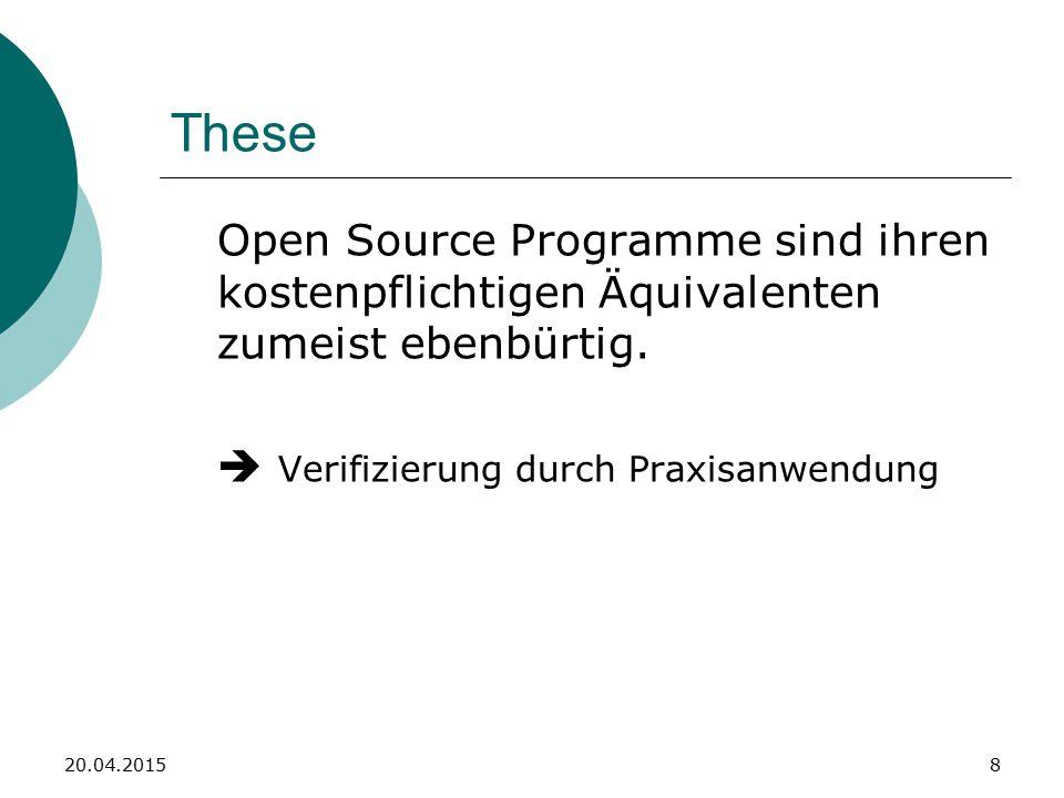 Quellen für Open Source Software  http://www.ohloh.net/ http://www.ohloh.net/  http://sourceforge.net/ http://sourceforge.net/  https://launchpad.net/ https://launchpad.net/  http://code.google.com/http://code.google.com/  http://www.freshmeat.net/http://www.freshmeat.net/ 20.04.20159