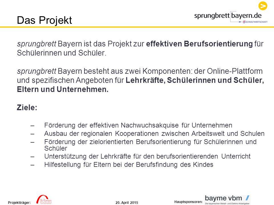 20. April 2015Projektträger: Hauptsponsoren: sprungbrett Bayern ist das Projekt zur effektiven Berufsorientierung für Schülerinnen und Schüler. sprung