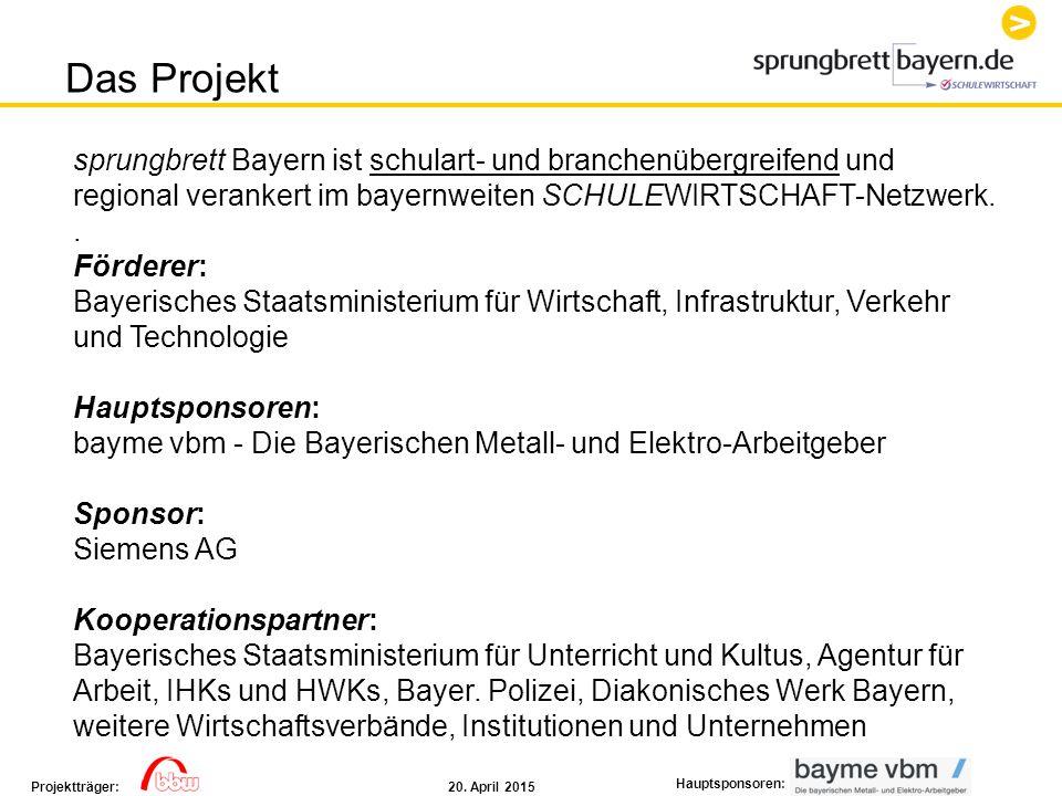 20. April 2015Projektträger: Hauptsponsoren: Das Projekt sprungbrett Bayern ist schulart- und branchenübergreifend und regional verankert im bayernwei