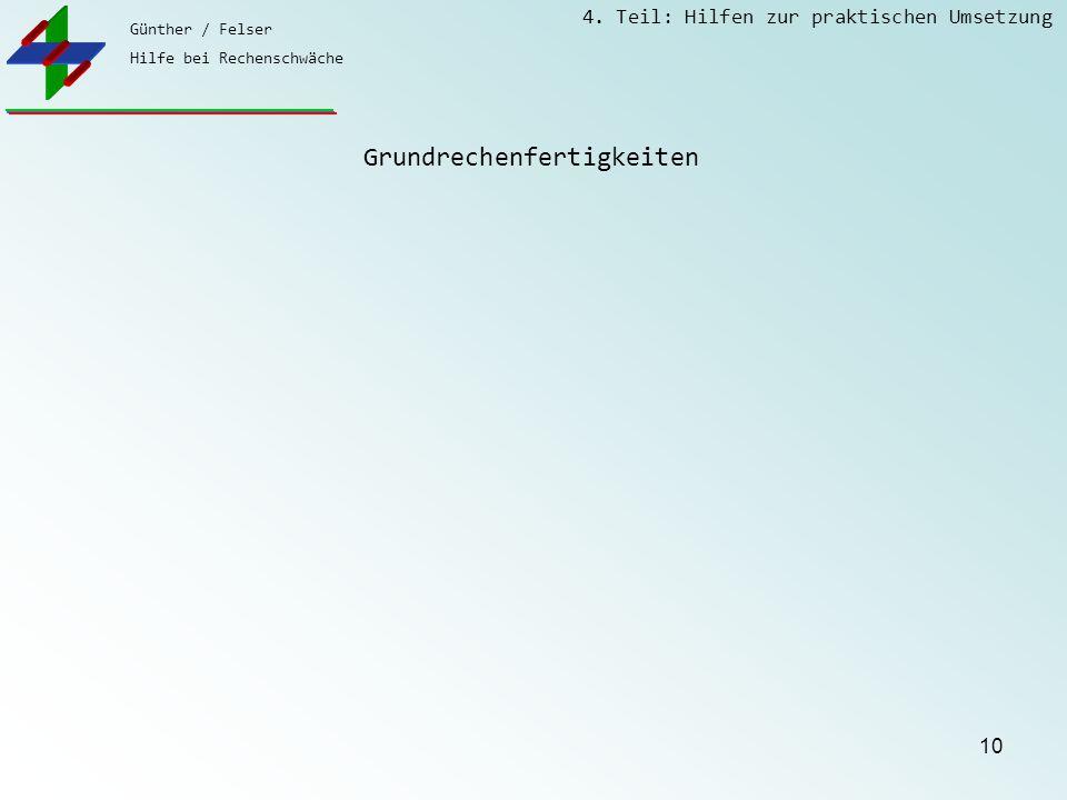 Günther / Felser Hilfe bei Rechenschwäche 4. Teil: Hilfen zur praktischen Umsetzung 10 Grundrechenfertigkeiten
