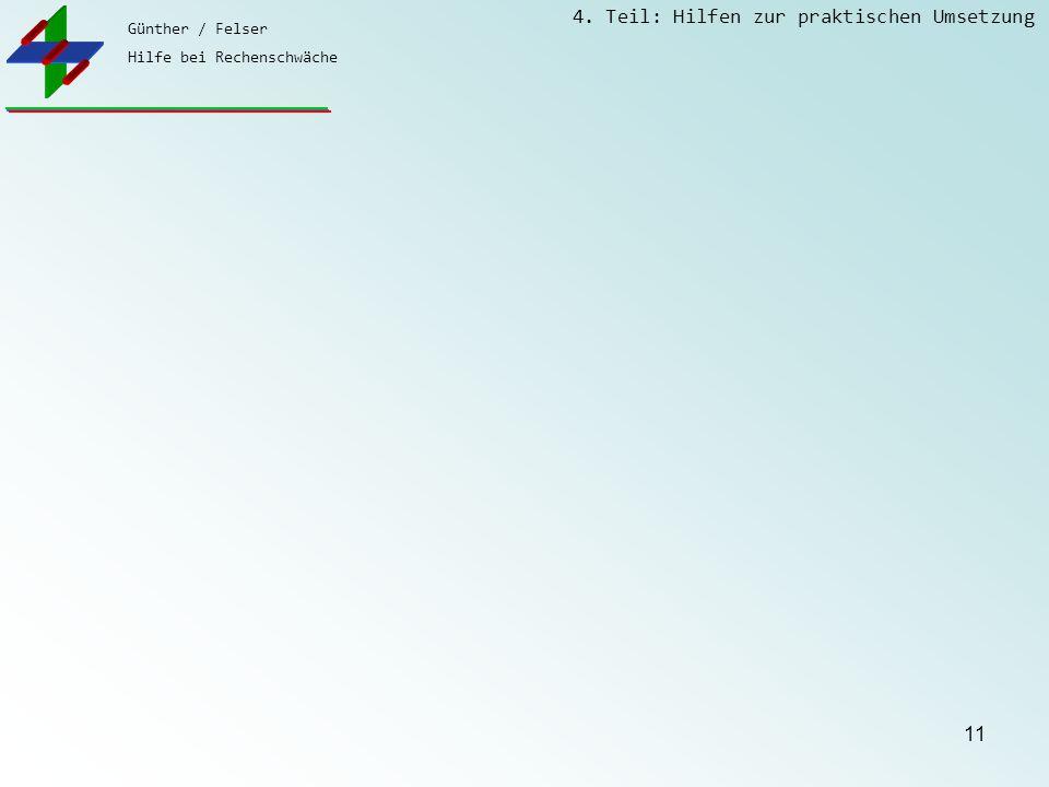 Günther / Felser Hilfe bei Rechenschwäche 4. Teil: Hilfen zur praktischen Umsetzung 11