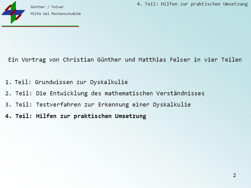 Günther / Felser Hilfe bei Rechenschwäche 4. Teil: Hilfen zur praktischen Umsetzung 2 Ein Vortrag von Christian Günther und Matthias Felser in vier Te