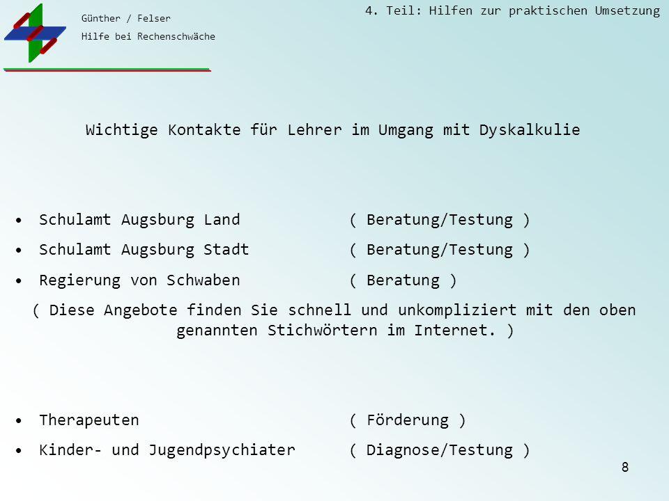Günther / Felser Hilfe bei Rechenschwäche 4. Teil: Hilfen zur praktischen Umsetzung 8 Wichtige Kontakte für Lehrer im Umgang mit Dyskalkulie Schulamt