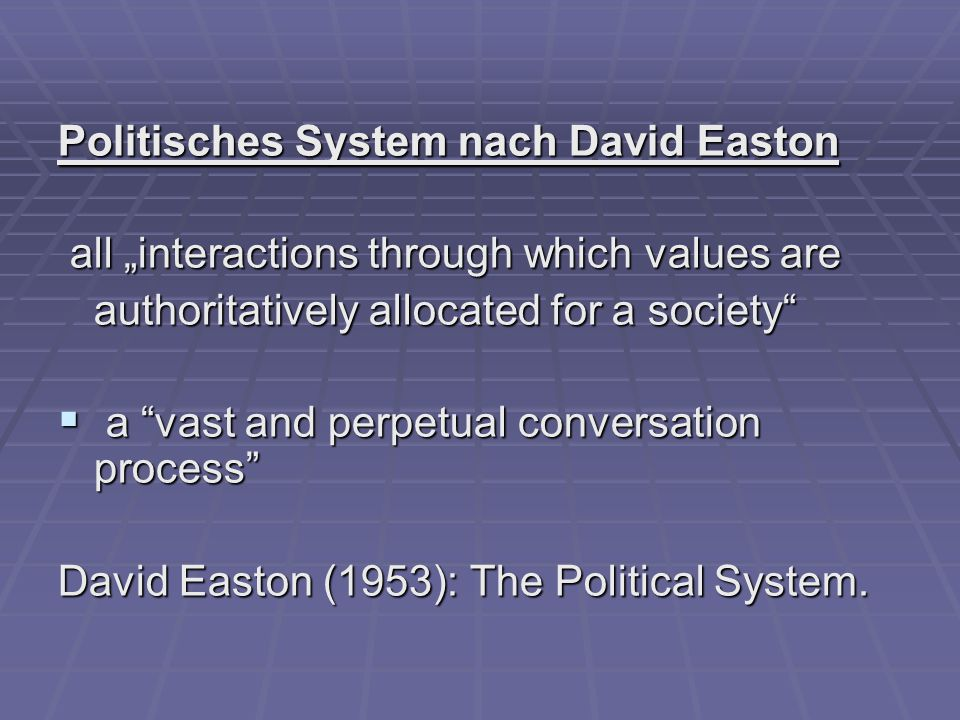 "Politisches System nach David Easton all ""interactions through which values are all ""interactions through which values are authoritatively allocated for a society  a vast and perpetual conversation process David Easton (1953): The Political System."
