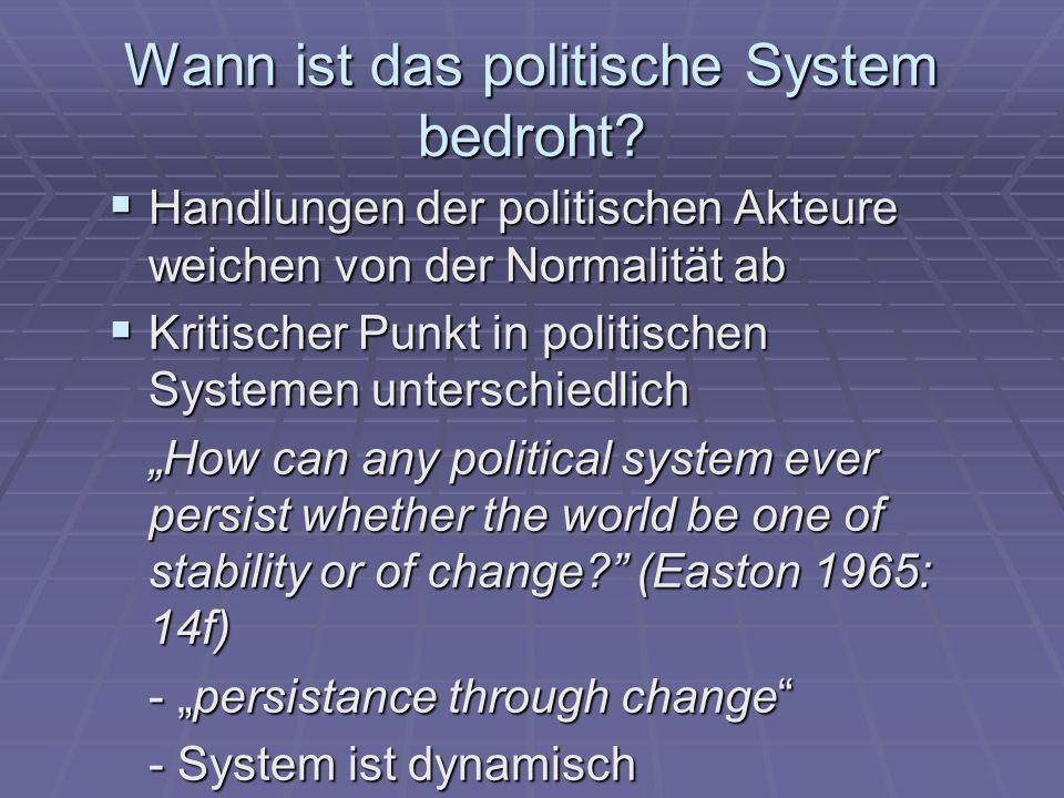 Wann ist das politische System bedroht.