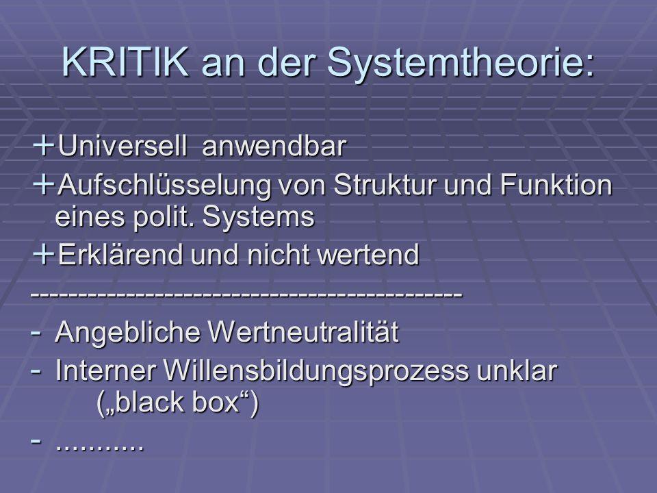 KRITIK an der Systemtheorie: + Universell anwendbar + Aufschlüsselung von Struktur und Funktion eines polit.