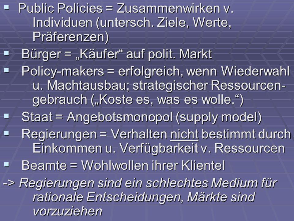  Public Policies = Zusammenwirken v. Individuen (untersch.