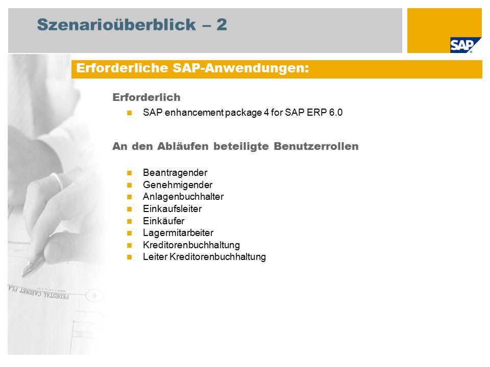 Szenarioüberblick – 2 Erforderlich SAP enhancement package 4 for SAP ERP 6.0 An den Abläufen beteiligte Benutzerrollen Beantragender Genehmigender Anlagenbuchhalter Einkaufsleiter Einkäufer Lagermitarbeiter Kreditorenbuchhaltung Leiter Kreditorenbuchhaltung Erforderliche SAP-Anwendungen: