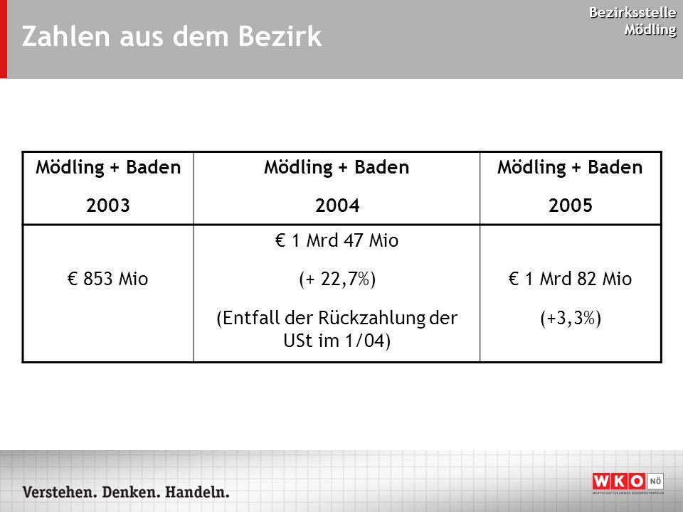 Bezirksstelle Mödling Zahlen aus dem Bezirk Mödling + Baden 2003 Mödling + Baden 2004 Mödling + Baden 2005 € 853 Mio € 1 Mrd 47 Mio (+ 22,7%) (Entfall der Rückzahlung der USt im 1/04) € 1 Mrd 82 Mio (+3,3%)
