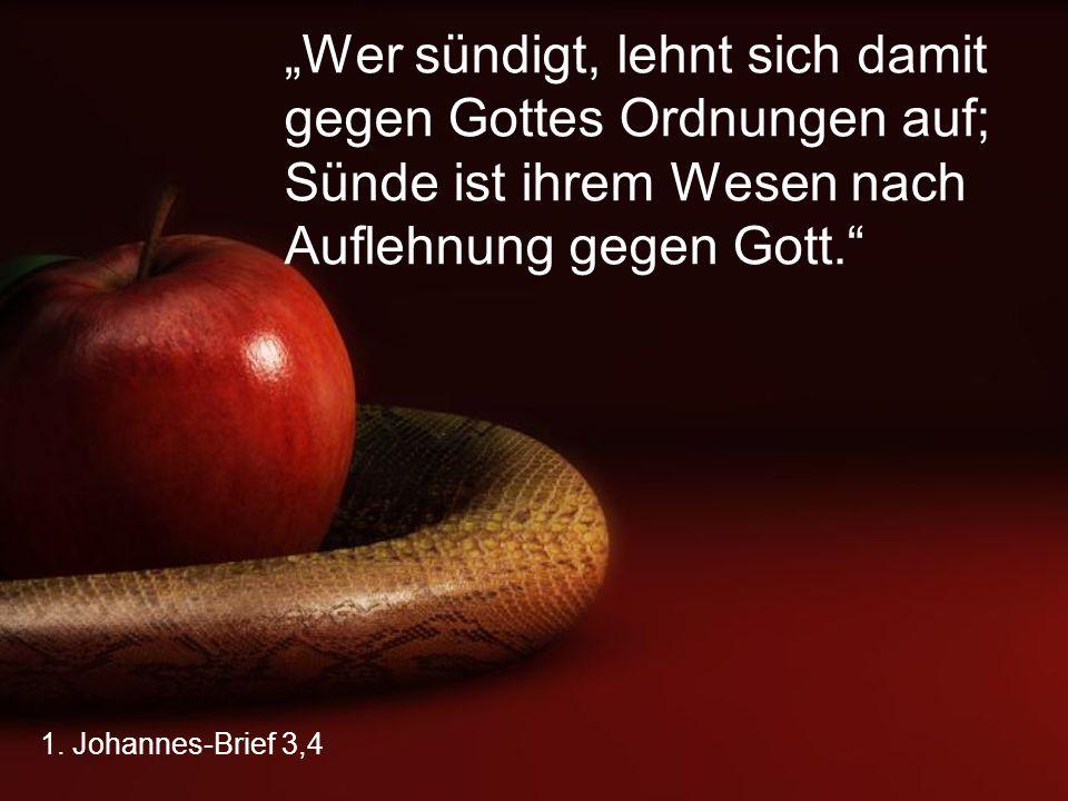"""1. Johannes-Brief 3,4 """"Wer sündigt, lehnt sich damit gegen Gottes Ordnungen auf; Sünde ist ihrem Wesen nach Auflehnung gegen Gott."""""""