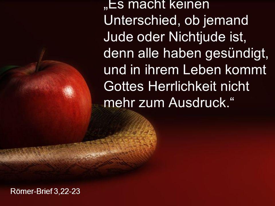 """Römer-Brief 3,22-23 """"Es macht keinen Unterschied, ob jemand Jude oder Nichtjude ist, denn alle haben gesündigt, und in ihrem Leben kommt Gottes Herrlichkeit nicht mehr zum Ausdruck."""