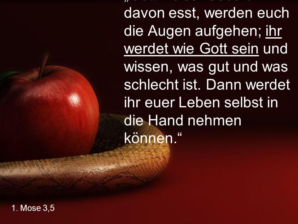 """1. Mose 3,5 """"Gott weiss: Sobald ihr davon esst, werden euch die Augen aufgehen; ihr werdet wie Gott sein und wissen, was gut und was schlecht ist. Dan"""