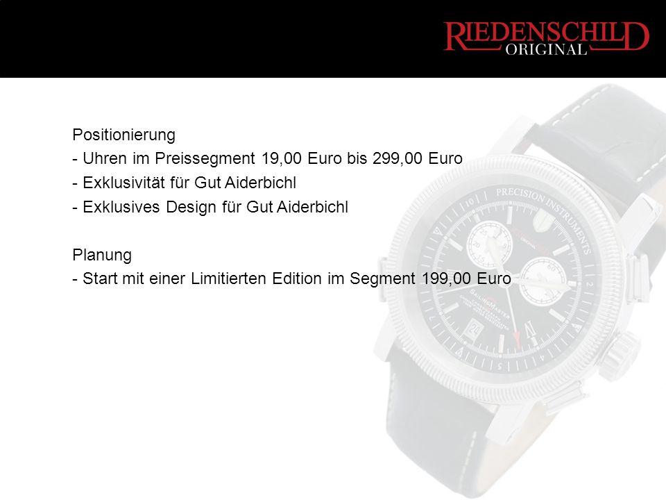 Positionierung - Uhren im Preissegment 19,00 Euro bis 299,00 Euro - Exklusivität für Gut Aiderbichl - Exklusives Design für Gut Aiderbichl Planung - Start mit einer Limitierten Edition im Segment 199,00 Euro