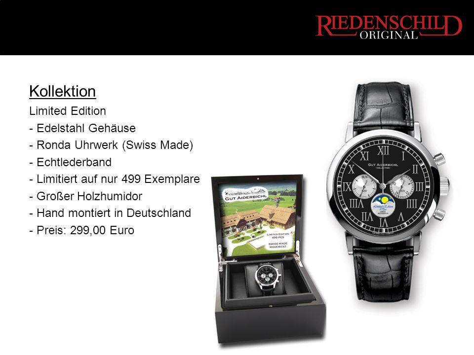 Kollektion Limited Edition - Edelstahl Gehäuse - Ronda Uhrwerk (Swiss Made) - Echtlederband - Limitiert auf nur 499 Exemplare - Großer Holzhumidor - Hand montiert in Deutschland - Preis: 299,00 Euro