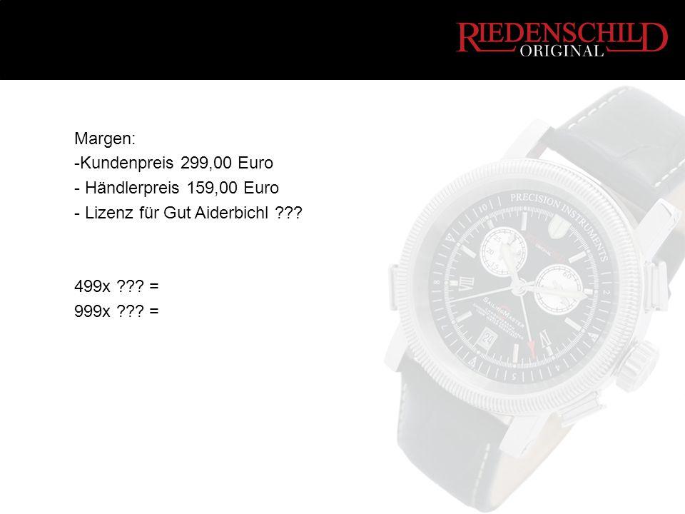 Margen: -Kundenpreis 299,00 Euro - Händlerpreis 159,00 Euro - Lizenz für Gut Aiderbichl ??? 499x ??? = 999x ??? =