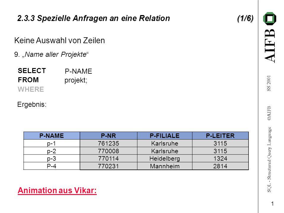 SQL - Structured Query Language  AIFB SS 2001 2 (2/6) 2.3.3 Spezielle Anfragen an eine Relation(2/6) projekt P-NAMEP-NRP-FILIALEP-LEITER p-1761235Karlsruhe3115 p-2770008Karlsruhe3115 p-3770114Heidelberg1324 P-4770231Mannheim2814 Keine Auswahl von Spalten 10.