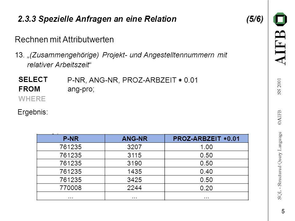 SQL - Structured Query Language  AIFB SS 2001 6 (6/6) 2.3.3 Spezielle Anfragen an eine Relation(6/6) ang-pro P-NRANG-NRPROZ-ARBZEIT 7612353207100 761235311550 761235319050 761235143540 761235342550 770008224420...
