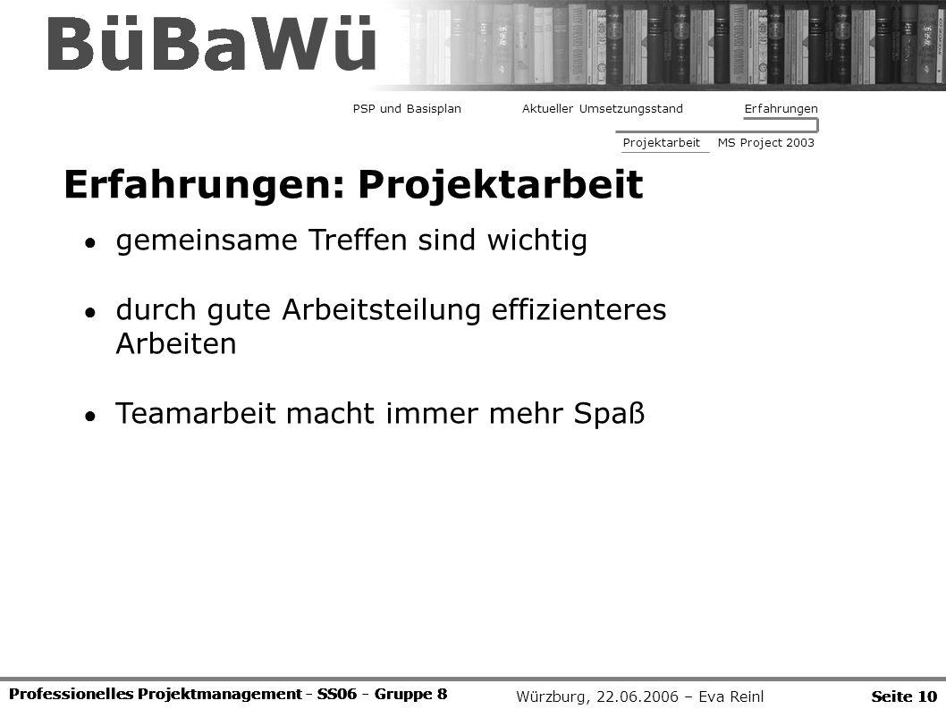 Würzburg, 22.06.2006 – Eva Reinl Professionelles Projektmanagement - SS06 - Gruppe 8 Erfahrungen: Projektarbeit Seite 10 BüBaWü Professionelles Projek