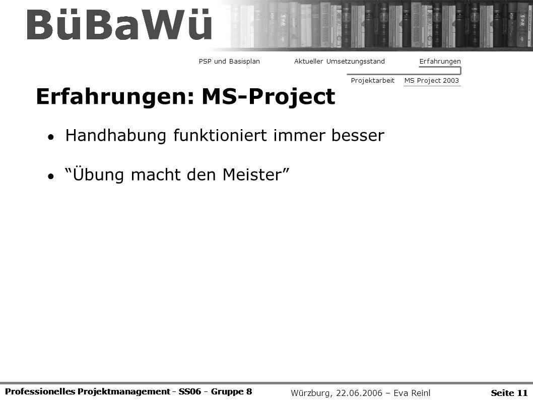 Würzburg, 22.06.2006 – Eva Reinl Professionelles Projektmanagement - SS06 - Gruppe 8 Seite 11 BüBaWü Professionelles Projektmanagement - SS06 - Gruppe