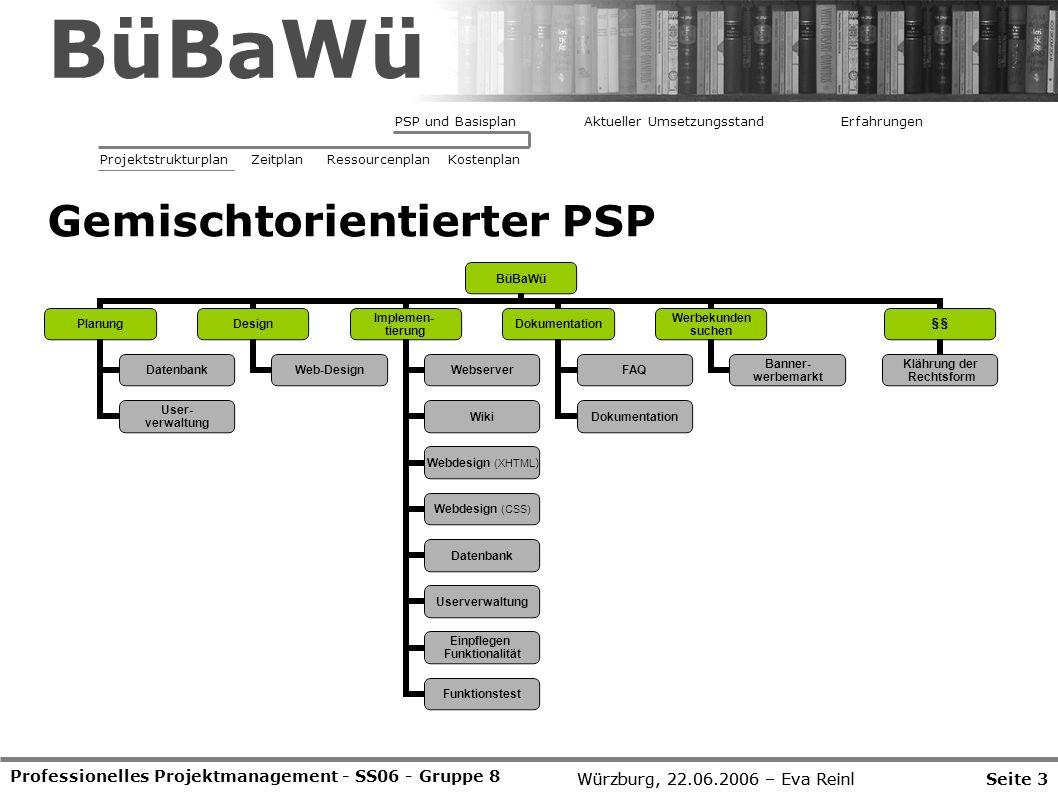Würzburg, 22.06.2006 – Eva Reinl Professionelles Projektmanagement - SS06 - Gruppe 8 Gemischtorientierter PSP Seite 3Würzburg, 22.06.2006 – Eva Reinl