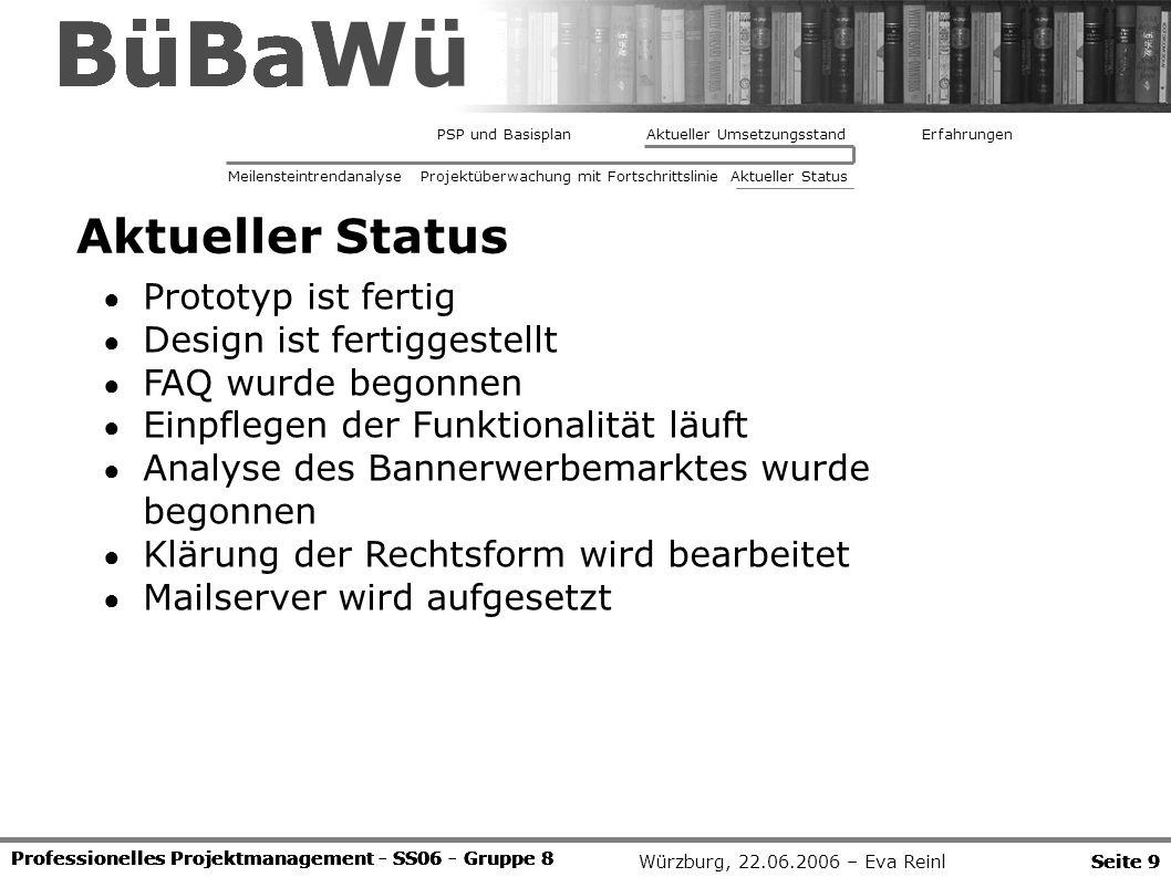 Würzburg, 22.06.2006 – Eva Reinl Professionelles Projektmanagement - SS06 - Gruppe 8 Seite 9 BüBaWü Professionelles Projektmanagement - SS06 - Gruppe