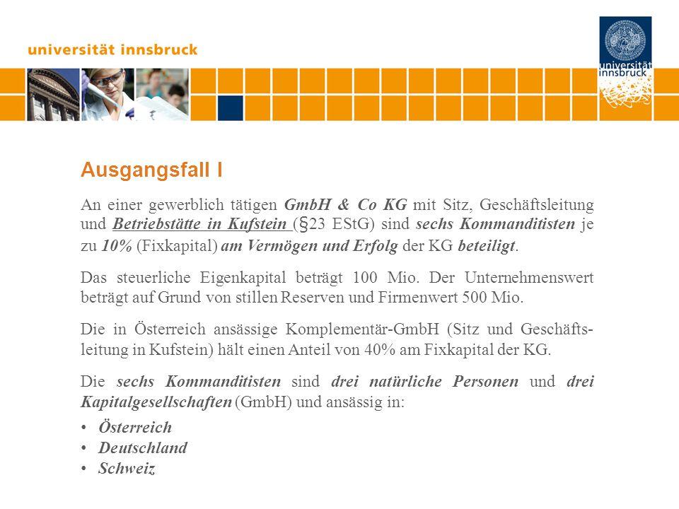 Ausgangsfall I An einer gewerblich tätigen GmbH & Co KG mit Sitz, Geschäftsleitung und Betriebstätte in Kufstein (§23 EStG) sind sechs Kommanditisten je zu 10% (Fixkapital) am Vermögen und Erfolg der KG beteiligt.