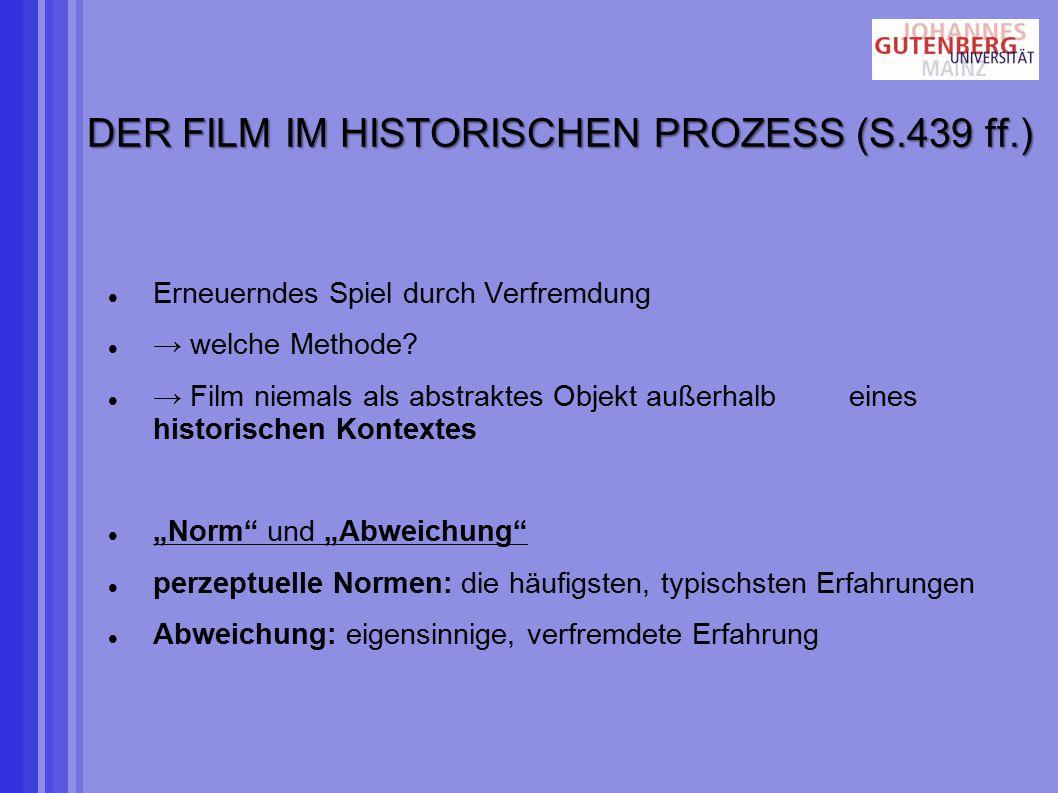 DER FILM IM HISTORISCHEN PROZESS (S.439 ff.) Erneuerndes Spiel durch Verfremdung → welche Methode.