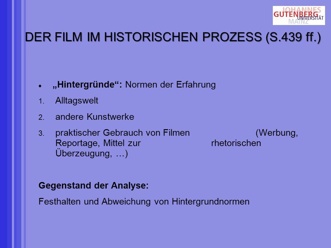 """DER FILM IM HISTORISCHEN PROZESS (S.439 ff.) """"Hintergründe : Normen der Erfahrung 1."""