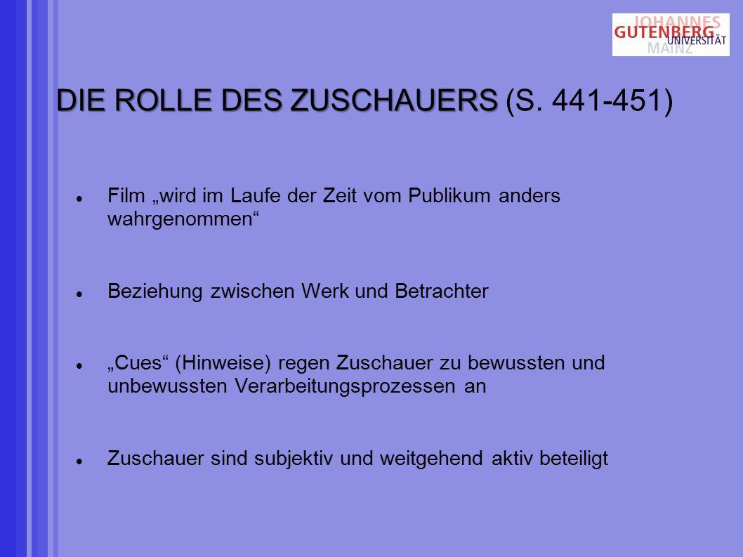 DIE ROLLE DES ZUSCHAUERS DIE ROLLE DES ZUSCHAUERS (S.