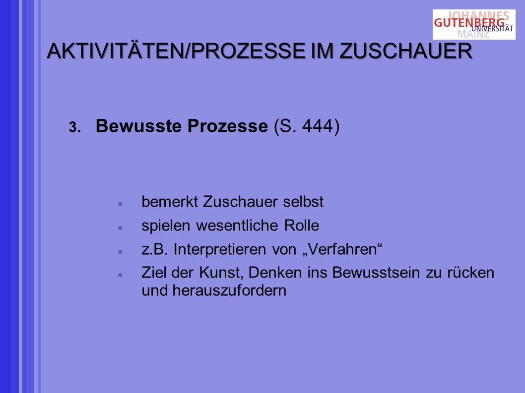 AKTIVITÄTEN/PROZESSE IM ZUSCHAUER 3.Bewusste Prozesse (S.
