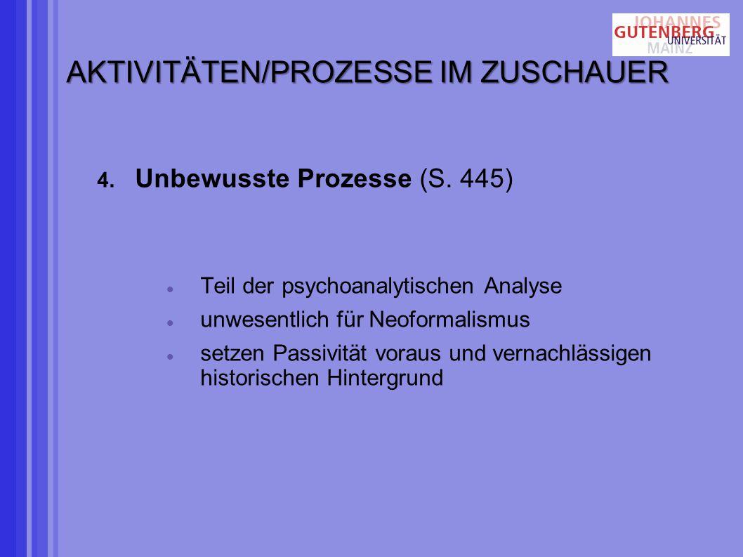 AKTIVITÄTEN/PROZESSE IM ZUSCHAUER 4.Unbewusste Prozesse (S.